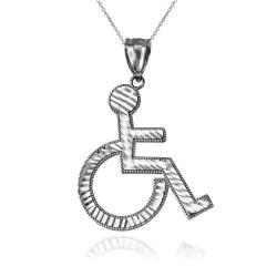 White Gold Handicap Wheelchair Pendant Necklace