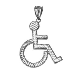 White Gold Handicap Wheelchair Charm Pendant (large)
