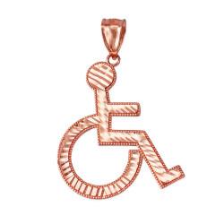Gold Handicap Wheelchair Charm Pendant (large)