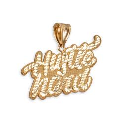 Gold HUSTLE HARD pendant.