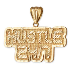 Yellow Gold HUSTLE 24/7 Hip-Hop DC Pendant