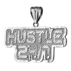 Sterling Silver Gold HUSTLE 24/7 Hip-Hop DC Pendant