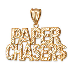 Yellow Gold PAPER CHASER$ Hip-Hop DC Pendant