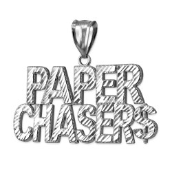 White Gold PAPER CHASER$ Hip-Hop DC Pendant