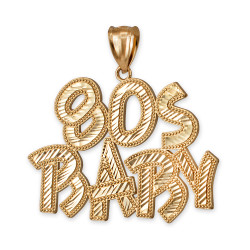 Yellow Gold 80S BABY Hip-Hop DC Pendant