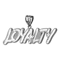 White Gold LOYALTY Hip-Hop DC Pendant