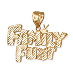 Yellow Gold FAMILY FIRST Hip-Hop DC Pendant