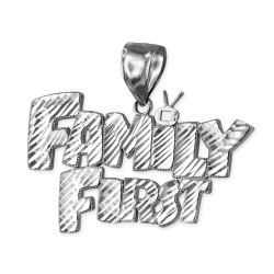White Gold FAMILY FIRST Hip-Hop DC Pendant