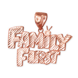 Rose Gold FAMILY FIRST Hip-Hop DC Pendant