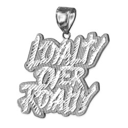 White Gold LOYALTY OVER ROYALTY Hip-Hop DC Pendant