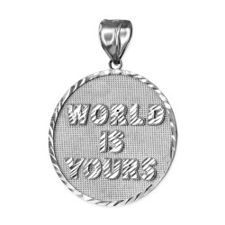 White Gold WORLD IS YOURS DC Medal Pendant