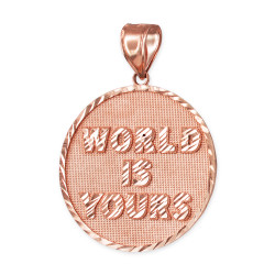 Rose Gold WORLD IS YOURS DC Medal Pendant