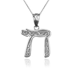 White Gold Jewish Chai Pendant Necklace
