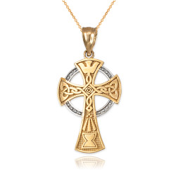 Two-tone Gold Celtic Cross Pendant Necklace