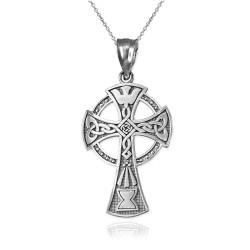 White Gold Celtic Cross Pendant Necklace