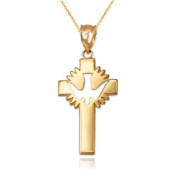 Yellow Gold Dove Cross Pendant Necklace