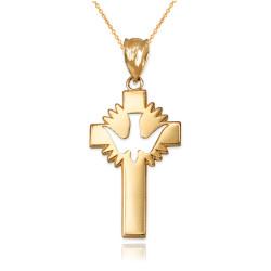 Yellow Gold Dove Cross Pendant Necklace
