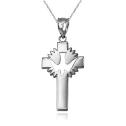 White Gold Dove Cross Pendant Necklace