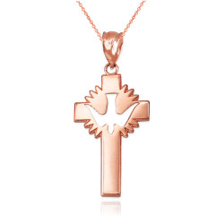 Rose Gold Dove Cross Pendant Necklace