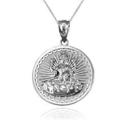 White Gold Hindu Goddess Lakshmi (Luxmi) Coin Pendant Necklace