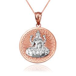 Two-Tone Rose Gold Hindu Goddess Lakshmi (Luxmi) Coin Pendant Necklace