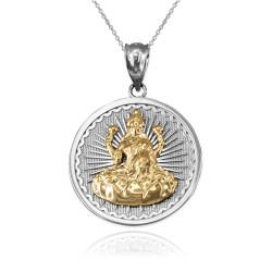 Two-Tone White Gold Hindu Goddess Lakshmi (Luxmi) Coin Pendant Necklace