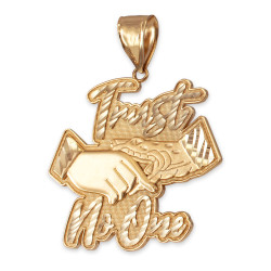 Yellow Gold TRUST NO ONE Hip-Hop Pendant