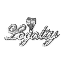 White  Gold LOYALTY Script Hip-Hop DC Pendant