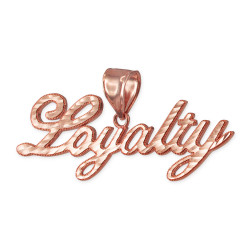 Rose Gold LOYALTY Script Hip-Hop DC Pendant