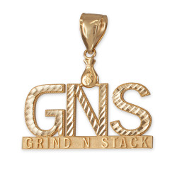 Yellow Gold GNS Grind-N-Stack Hip-Hop DC Pendant
