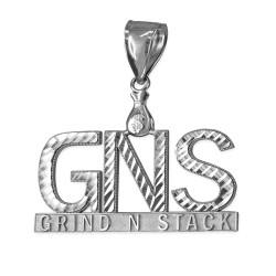 White Gold GNS Grind-N-Stack Hip-Hop DC Pendant