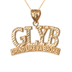 Yellow Gold GLYB Grind Like Ya Broke DC Pendant Necklace