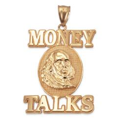 Money Talks Benjamin Franklin gold pendant