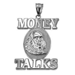Sterling Silver MONEY TALKS Benjamin Franklin Hip-Hop Pendant