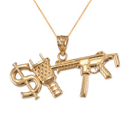 Yellow Gold Dollar Plug Gun Hip Hop Pendant Necklace