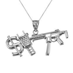 White Gold Dollar Plug Gun Hip Hop Pendant Necklace