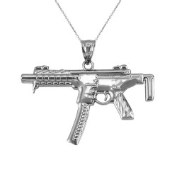 Sterling Silver SMG Gun Pendant Necklace