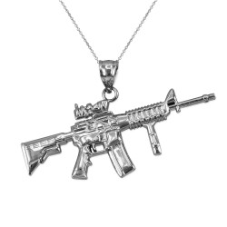 White Gold Assault Rifle Gun Pendant Necklace