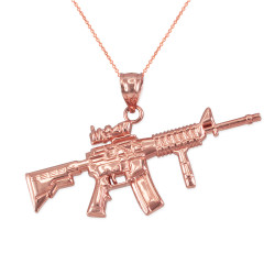 Rose Gold Assault Rifle Gun Pendant Necklace