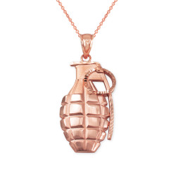 Rose Gold Grenade Satin DC Pendant Necklace