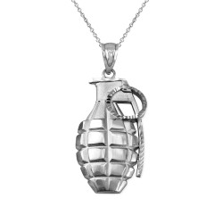 Sterling Silver Grenade Satin DC Pendant Necklace