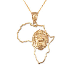 Yellow Gold Africa Map Lion Pendant Necklace