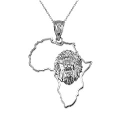White Gold Africa Map Lion Pendant Necklace