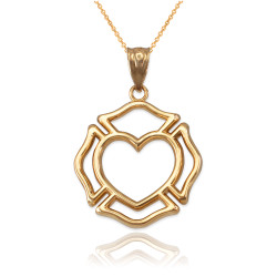 Yellow Gold Firefighter Claddagh Heart Pendant Necklace