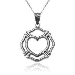 White Gold Firefighter Heart Pendant Necklace