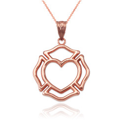 Rose Gold Firefighter Heart Pendant Necklace