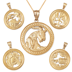 Yellow Gold Zodiac Open Medallion Satin DC Pendant Necklace
