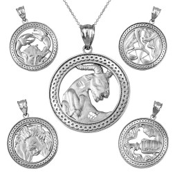 White Gold Zodiac Open Medallion Satin DC Pendant Necklace
