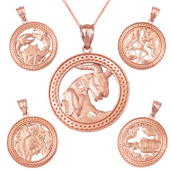 Rose Gold Zodiac Open Medallion Satin DC Pendant Necklace