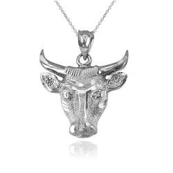 White Gold Bull Head DC Pendant Necklace